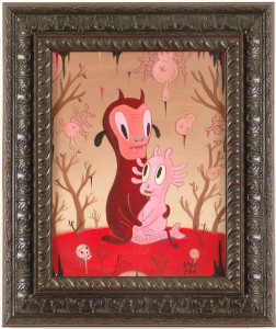 Gary  Baseman -  <strong>Simone Keye and Lover</strong> (2005<strong style = 'color:#635a27'></strong>)<bR /> Acrylic on Wood Panel,   14 x 11 inches