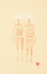 David  Choe -  <strong>Cold Winter Twins</strong> (<strong style = 'color:#635a27'></strong>)<bR /> Mixed media on paper,   Image size: 16 1/2 x 11 1/2 inches,   Framed size: 25 x 19 inches