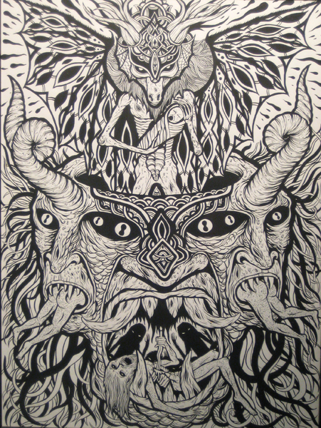 Skinner  &nbsp -  <strong>Satanic Scene</strong> (2009<strong style = 'color:#635a27'></strong>)<bR /> ink on paper,   24 x 18 inches [61 x 45.7 cm]