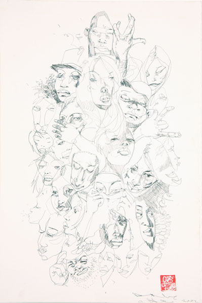 David  Choe -  <strong>Skrunchface 1</strong> (2007<strong style = 'color:#635a27'></strong>)<bR /> Pencil on Paper,   15 x 10 inches