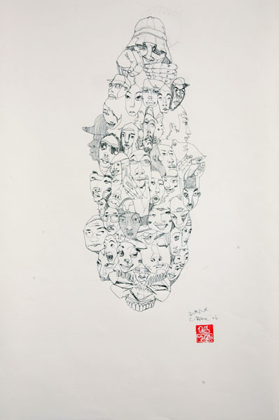 David  Choe -  <strong>Skrunchface 3</strong> (<strong style = 'color:#635a27'></strong>)<bR /> Pencil on Paper,   18 x 12 inches