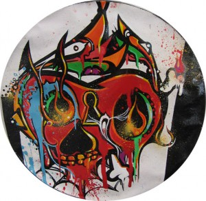 Boleta    -  <strong>White Skull</strong> (<strong style = 'color:#635a27'></strong>)<bR /> Mixed Media on Canvas,   9 1/2 inches in diameter