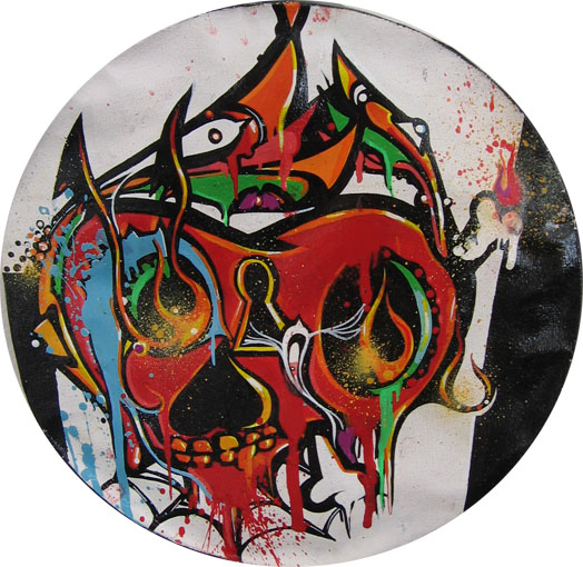 Boleta  &nbsp -  <strong>White Skull</strong> (<strong style = 'color:#635a27'></strong>)<bR /> Mixed Media on Canvas,   9 1/2 inches in diameter