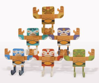 "Mike  Burnett -  <strong>Lucha Libre Set (mini)</strong> (<strong style = 'color:#635a27'></strong>)<bR /> acrylic on wood   set of 6 posable 5.5"" x 5"" x 2.5"" figurines"