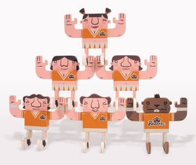"Mike  Burnett -  <strong>Oregon State Cheerleader Stack Set (mini)</strong> (<strong style = 'color:#635a27'></strong>)<bR /> acrylic on wood   set of 6 posable 5.5"" x 5"" x 2.5"" figurines"