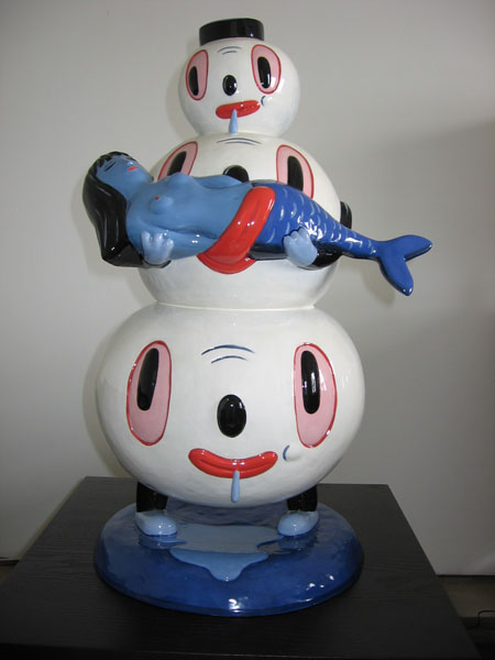 Gary  Baseman -  <strong>Happy Idiot</strong> (<strong style = 'color:#635a27'></strong>)<bR /> Ceramic sculpture,   Edition of 6,   25 x 13 x 13 inches