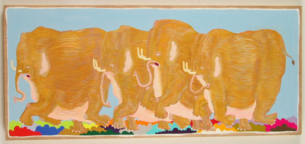 Ben  Woodward -  <strong>Stampeded</strong> (<strong style = 'color:#635a27'></strong>)<bR /> Gouache on Wood -Contact Gallery for Availability-