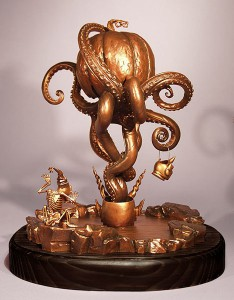 "Todd  Schorr -  <strong>Under Autumns Tentacled Spell (back)</strong> (2005<strong style = 'color:#635a27'></strong>)<bR /> Bronze sculpture  12.5"" x 10.5""  Edition of 10  -Contact Gallery for Availability-"
