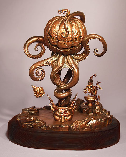 "Todd  Schorr -  <strong>Under Autumns Tentacled Spell Bronze (front)</strong> (2005<strong style = 'color:#635a27'></strong>)<bR /> Bronze sculpture  12.5"" x 10.5""  Edition of 10  -Contact Gallery for Availability-"