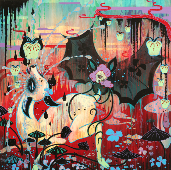 Camille Rose  Garcia -  <strong>Succubus Spring</strong> (2008<strong style = 'color:#635a27'></strong>)<bR /> Acrylic, Silver Leaf  and Glitter on Wood Panel,   36 x 36 inches