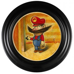 "Daniel  Peacock -  <strong>Super Mario</strong> (<strong style = 'color:#635a27'></strong>)<bR /> Acrylic on Canvas Image size: 12"" round Framed size: 17"" round -Contact Gallery for Availability-"