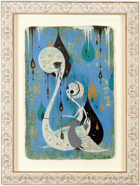 Camille Rose  Garcia -  <strong>White Swan Death Boy</strong> (2006<strong style = 'color:#635a27'></strong>)<bR /> Acrylic and gold mica on paper,   Image size: 23 x 15 inches,   Framed size: 31 x 24 inches