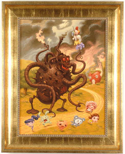 "Todd  Schorr -  <strong>Sweet Tooth</strong> (2005<strong style = 'color:#635a27'></strong>)<bR /> Acrylic on Canvas Image size: 24"" x 18"" Framed size: 31"" x 24.5"" -Contact Gallery for availability-"