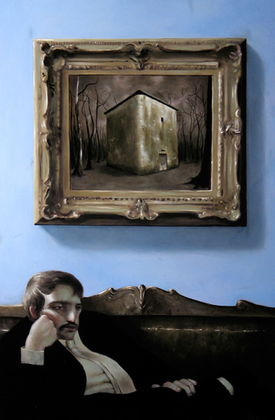 Jonathan  Viner -  <strong>Tarnished Walls</strong> (2006<strong style = 'color:#635a27'></strong>)<bR /> Oil on panel,   42 1/2 x 30 1/2 inches