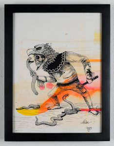 Saner     -  <strong>The Eagle Versus Snake</strong> (2014<strong style = 'color:#635a27'></strong>)<bR /> ink and watercolor on paper,   12 x 9 inches  (30.48 x 22.86 cm)