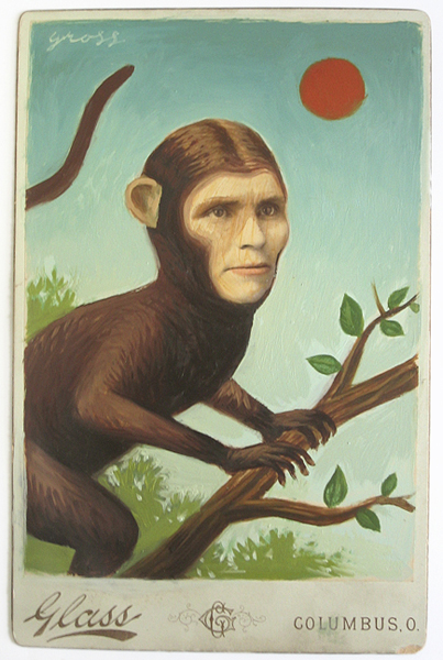 Alex  Gross -  <strong>The Monkey Lady</strong> (<strong style = 'color:#635a27'></strong>)<bR /> Collage, Acrylic and Oil on Antique Cabinet Card,   Image Size: 6 x 4 inches,   Framed Size: 10 x 8 inches