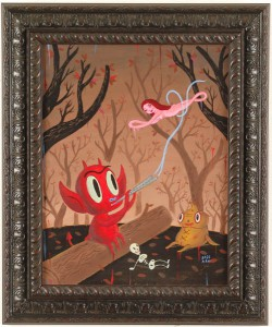 Gary  Baseman -  <strong>The Muse</strong> (2005<strong style = 'color:#635a27'></strong>)<bR /> Acrylic on Canvas,   14 x 18 inches