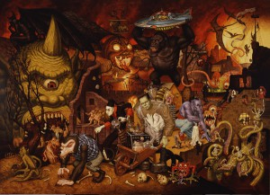 Todd  Schorr -  <strong>The Parade of the Damned</strong> (<strong style = 'color:#635a27'></strong>)<bR /> Giclee on paper,   S/N edition of 25,   Image size: 28 x 39 1/2 inches,   Paper size: 31 1/2 x 43 inches