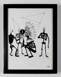 Saner   -  <strong>The Political System</strong> (2014<strong style = 'color:#635a27'></strong>)<bR /> ink on paper,   12 x 9 inches  (30.48 x 22.86 cm)