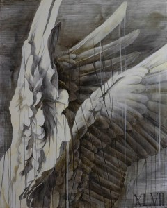 """Faith47   -  <strong>The Psychic Power of Animals 1</strong> (2015<strong style = 'color:#635a27'></strong>)<bR /> graphite, ink and oil on canvas,   60 x 45 inches  (152.4 x 114.3 cm),   <span style=""""font-size: 9pt; font-family: Arial, sans-serif;"""">"""