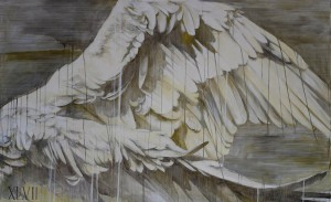 """Faith47   -  <strong>The Psychic Power of Animals 2</strong> (2015<strong style = 'color:#635a27'></strong>)<bR /> graphite, ink and oil on canvas,   40 x 60 inches  (101.6 x 152.4 cm),   <span style=""""font-size: 9pt; font-family: Arial, sans-serif;"""">"""