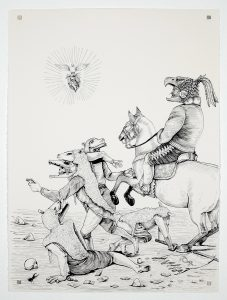 Saner   -  <strong>The Revenge of the People</strong> (2014<strong style = 'color:#635a27'></strong>)<bR /> ink on paper,   30 x 22.25 inches  (76.2 x 56.52 cm)