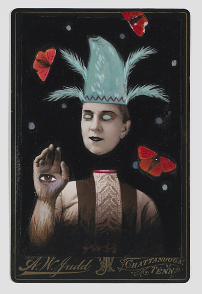 Alex  Gross -  <strong>The Seer</strong> (<strong style = 'color:#635a27'></strong>)<bR /> Collage, Acrylic and Oil on Antique Cabinet Cards,   Image Size: 6 x 4 inches,   Framed Size: 10 x 8 inches