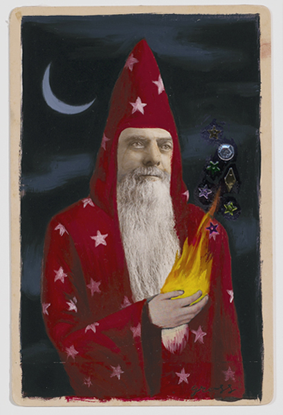 Alex  Gross -  <strong>The Sorcerer</strong> (<strong style = 'color:#635a27'></strong>)<bR /> Collage, Acrylic and Oil on Antique Cabinet Cards,   Image Size: 6 x 4 inches,   Framed Size: 10 x 8 inches