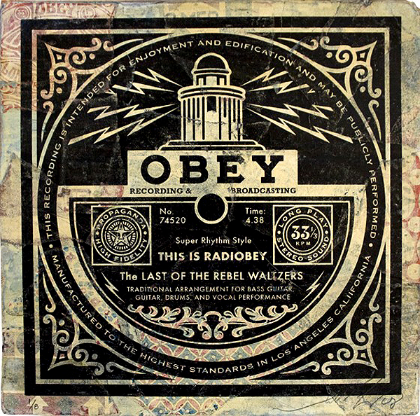 "Shepard  Fairey -  <strong>This is Radiobey</strong> (2008<strong style = 'color:#635a27'></strong>)<bR /> <font size=""2"">Hand Painted Multiple</font>,   <font size=""2"">Silkscreen Collage on Album Cover</font>,   <font size=""2"">Edition 5/8</font>,   <font size=""2"">12 x 12 inches</font>"