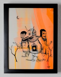 Saner     -  <strong>The Three False Men</strong> (2014<strong style = 'color:#635a27'></strong>)<bR /> ink and watercolor on paper,   12 x 9 inches  (30.48 x 22.86 cm)
