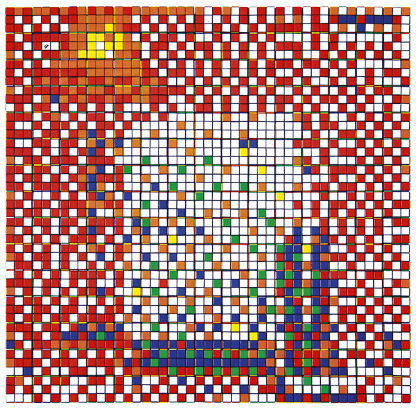 Invader  &nbsp -  <strong>Rubik Three Imaginary Boys</strong> (2009<strong style = 'color:#635a27'></strong>)<bR /> 225 Rubik's cubes on Perspex panel,   33 x 33 x 2 3/8 inches [83.8 x 83.8 x 6 cm]