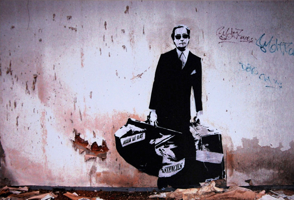 Blek le Rat  &nbsp -  <strong>Man Who Walks Through Walls - photograph</strong> (2008<strong style = 'color:#635a27'></strong>)<bR /> Continuous tone photograph on Fuji Crystal archive paper,   Image size: 14 1/2 x 22 inches,   Paper size: 20 x 24 inches,   Edition of 200 signed by Blek le Rat and Sybille Prou