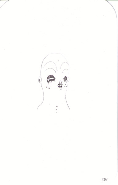 Camille Rose  Garcia -  <strong>Thumbface</strong> (2006<strong style = 'color:#635a27'></strong>)<bR /> Pencil on paper,   11 x 7 1/2 inches