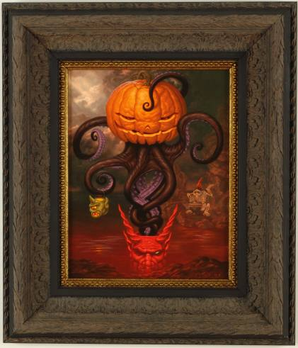 "Todd  Schorr -  <strong>Under Autumns Tentacled Spell</strong> (<strong style = 'color:#635a27'></strong>)<bR /> Acrylic on Canvas   Framed: 18.5"" x 21.5"""