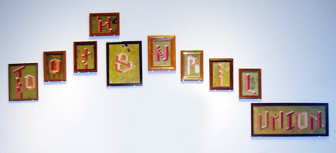 AJ  Fosik -  <strong>Tooth & Nail</strong> (2006<strong style = 'color:#635a27'></strong>)<bR /> Acrylic and Enamel on Board,   Dimensions Variable