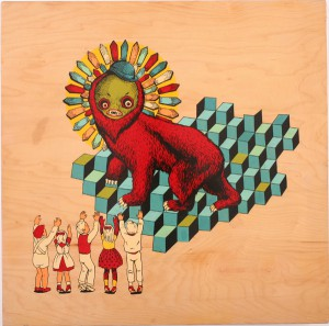 AJ  Fosik -  <strong>Traders Lament</strong> (2007<strong style = 'color:#635a27'></strong>)<bR /> Enamel on Wood,   24 x 24 inches