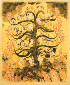 Dave  Cooper -  <strong>Tree Helix</strong> (2005<strong style = 'color:#635a27'></strong>)<bR /> Mixed Media, Laid Paper on Canvas ,   14 x 17 inches