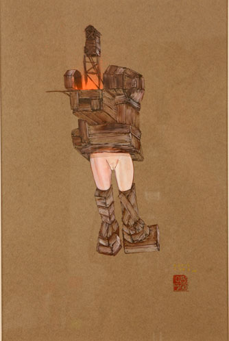 David  Choe -  <strong>Treehouse of Fun</strong> (<strong style = 'color:#635a27'></strong>)<bR /> Mixed media on Paper,   Image size: 16 1/2 x 11 1/2,   Framed size: 25 x 19 inches