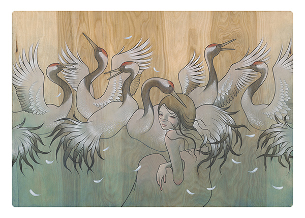 Audrey  Kawasaki -  <strong>Tsuri no Ma (Crane's Dance)</strong> (2009<strong style = 'color:#635a27'></strong>)<bR /> oil and graphite on wood,   24 x 34.5 inches  (60.96 x 87.63 cm)