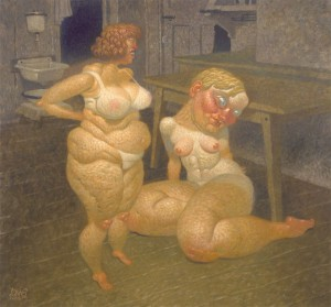 Dave  Cooper -  <strong>Two in Kitchen</strong> (2005<strong style = 'color:#635a27'></strong>)<bR /> Oil on Canvas,   36 x 33 1/2 inches