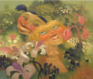Dave  Cooper -  <strong>Two on Forest Floor</strong> (2005<strong style = 'color:#635a27'></strong>)<bR /> Giclee on Somerset Velvet Paper,   Image size:16 x 18 inches,   Paper size:19 x 21 1/2 inches,   S/N Edition of 80