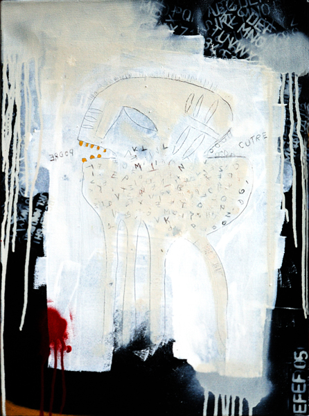Fefê  &nbsp -  <strong>White Monster</strong> (<strong style = 'color:#635a27'></strong>)<bR /> Mixed Media on Canvas,   19 1/2 x 27 inches