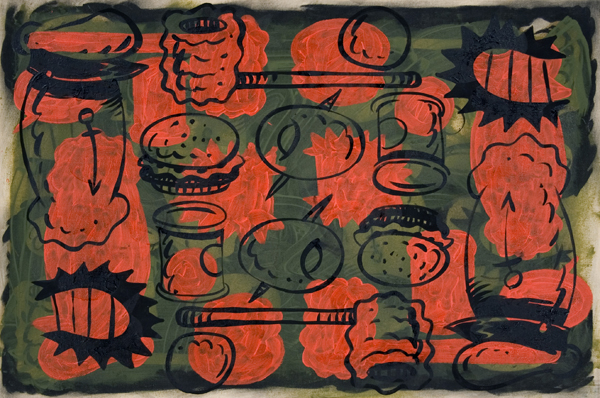 Mark Dean  Veca -  <strong>Untitled (Red/Green)</strong> (1992<strong style = 'color:#635a27'></strong>)<bR /> Mixed Media on Canvas,   32 x 48 inches