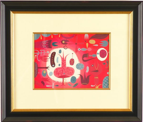 Tim  Biskup -  <strong>Valium Ringer</strong> (2005<strong style = 'color:#635a27'></strong>)<bR /> gouache on paper ,   9 x 12 inches (22.86 x 30.48 cm)  19.5 x 23 inches, framed