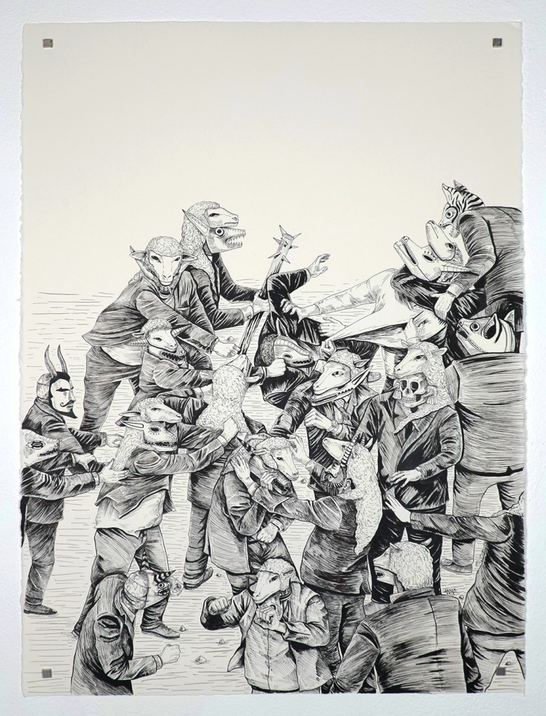Saner     -  <strong>Vote for Your Government</strong> (2014<strong style = 'color:#635a27'></strong>)<bR /> ink on paper,   30 x 22.25 inches  (76.2 x 56.52 cm)