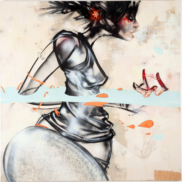 David  Choe -  <strong>Waist-deep</strong> (<strong style = 'color:#635a27'></strong>)<bR /> Mixed media on Wood,   48 x 48 inches