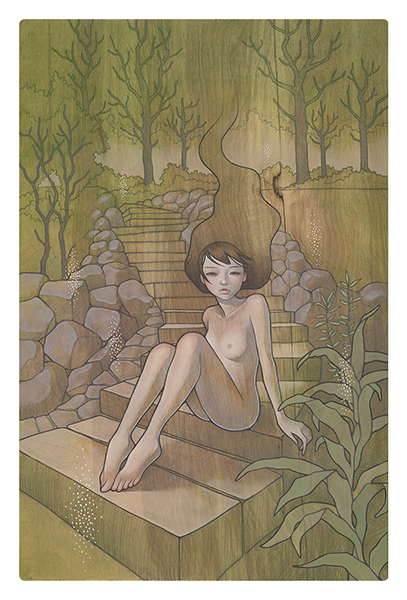 Audrey  Kawasaki -  <strong>Warabeuta (A Child's Song)</strong> (2009<strong style = 'color:#635a27'></strong>)<bR /> oil and graphite on wood,   32 x 21 inches  (81.28 x 53.34 cm)