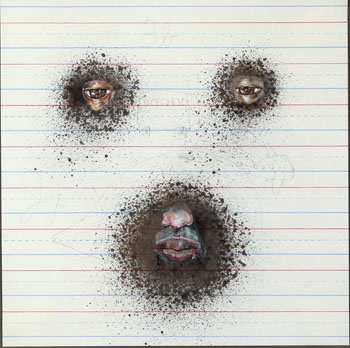 David  Choe -  <strong>Wendel</strong> (<strong style = 'color:#635a27'></strong>)<bR /> Mixed media on paper,   Image size: 12 x 12 inches,   Framed size: 22 x 22 inches