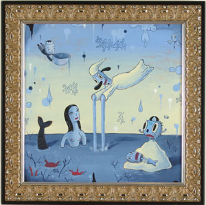 Gary  Baseman -  <strong>Wet Dream A</strong> (<strong style = 'color:#635a27'></strong>)<bR /> Acrylic on Panel,   Image size: 20 x 20 inches,   Framed size: 25 x 25 inches