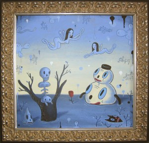 Gary  Baseman -  <strong>Wet Dream B</strong> (<strong style = 'color:#635a27'></strong>)<bR /> Acrylic on Panel,   Image size: 20 x 20 inches,   Framed size: 25 x 25 inches